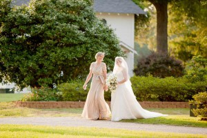 Mother and Bride walking to the ceremony