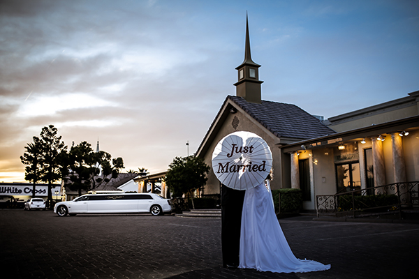 Just Married at Best Vegas Wedding Chapel of the Flowers