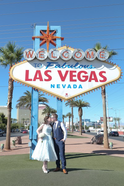 Chapel of the Flower Las Vegas Sign Wedding