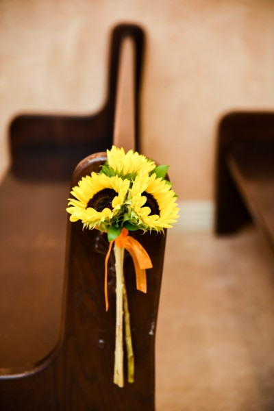 3 Mini Sunflower Pew Marker at Chapel of the Flowers
