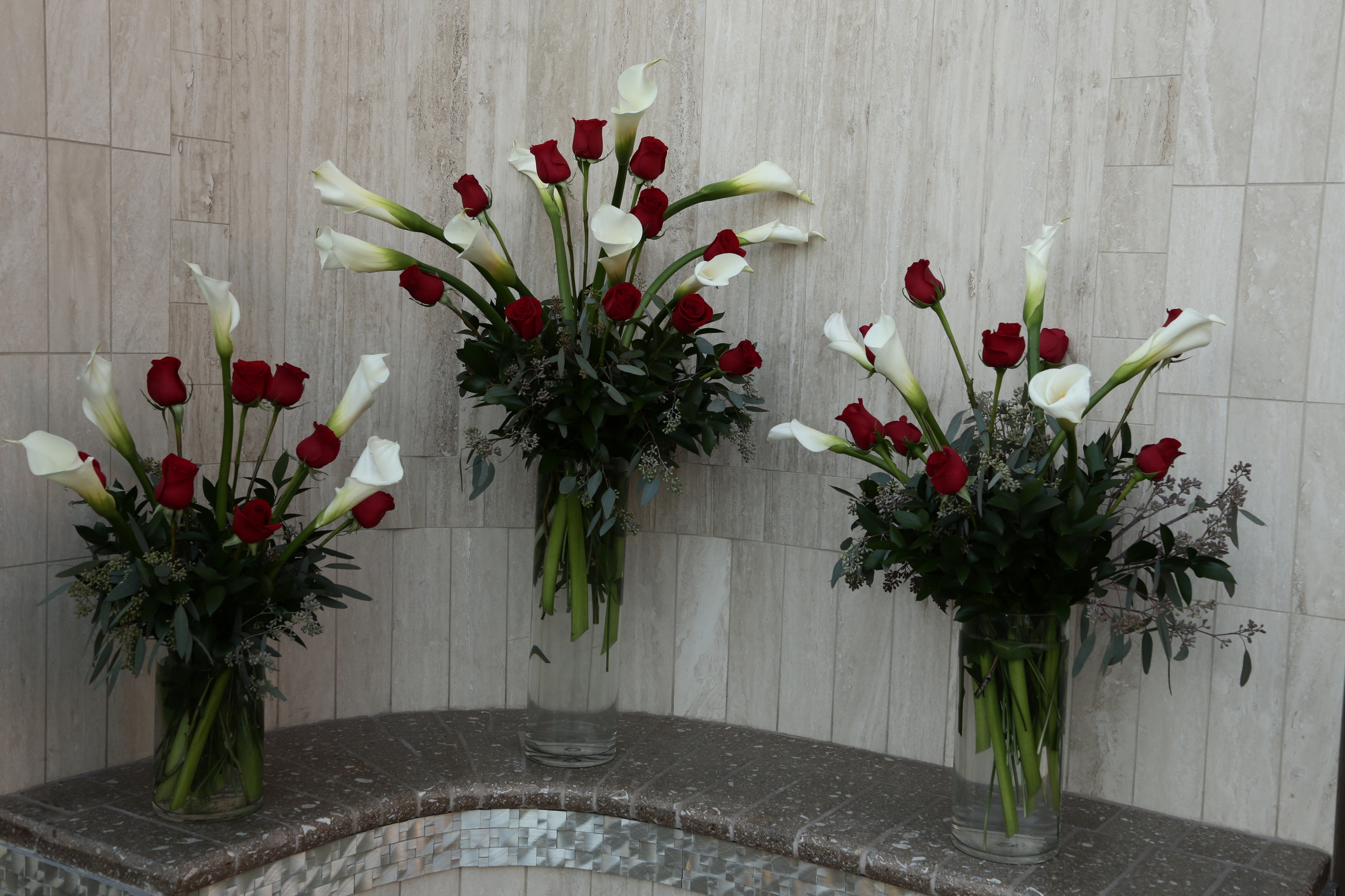 Rose Calla Altar Sprays At Chapel Of The Flowers
