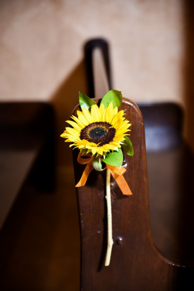 Single Sunflower Pew Marker at Chapel of the Flowers