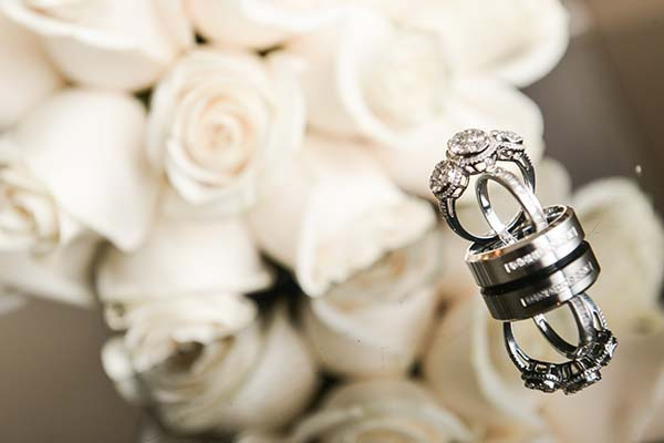 Engagement Ring and Wedding Ring at Las Vegas Wedding Chapel of the Flowers