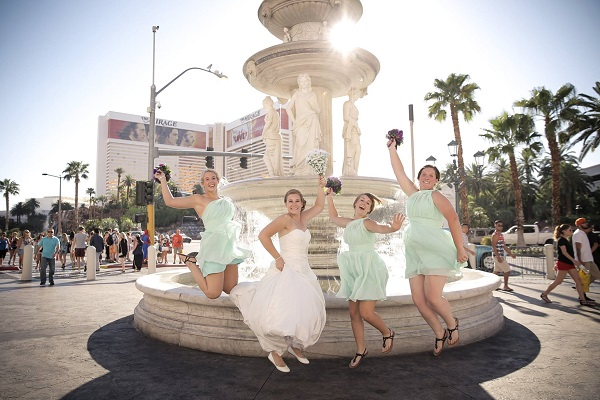 Leaping bride and Bridesmaids