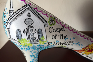 Chapel of the Flowers Art on Custom Electric Heels