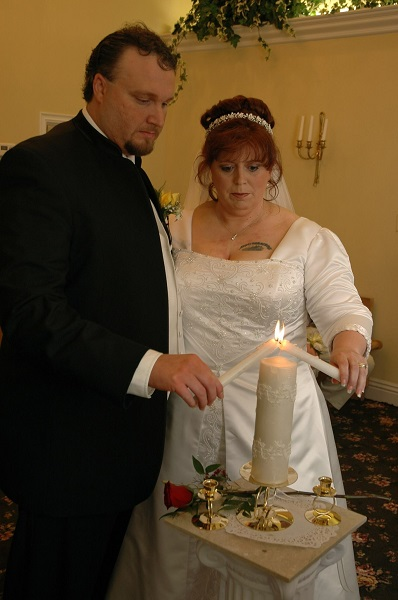 Unity Candle ceremony at Las Vegas Wedding Chapel of the Flowers