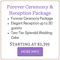 Affordable Las Vegas Wedding Package includes Ceremony and Reception for you to 30 guests