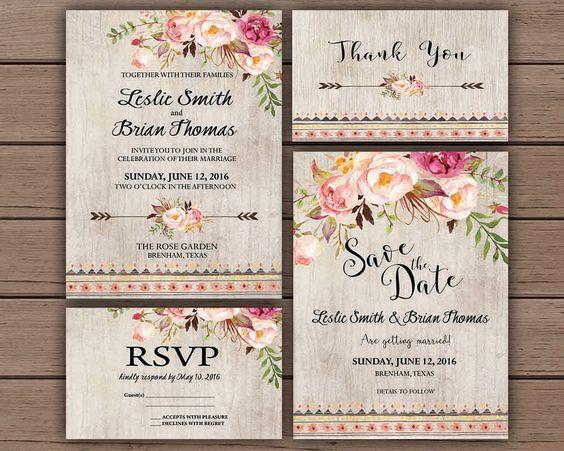Floral Gypsy Wedding Invitations