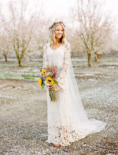 9f3f4690f8d Bohemian Wedding Dress for Boho Chic Bride