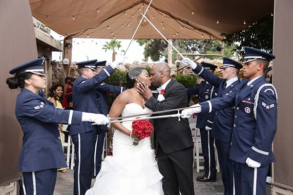 Saber Acrhway Military wedding tradition at Las Vegas Wedding Chapel of the Flowers