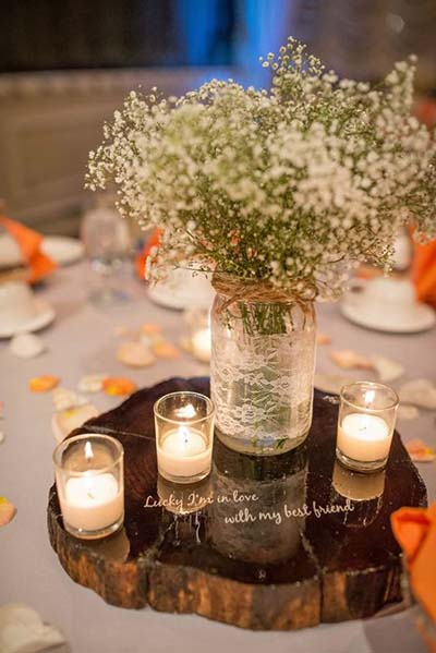 Baby's Breath Centepiece for Fall Wedding