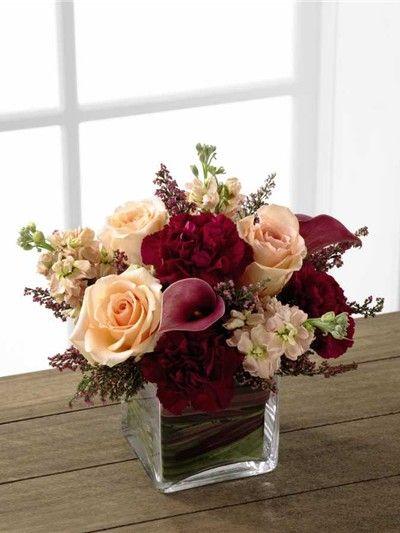 Deep Red Wedding Centerpiece for Fall Wedding