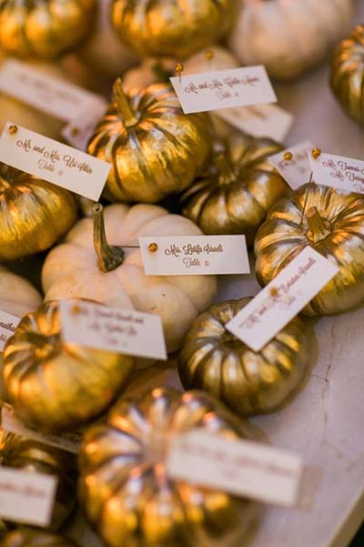 Pumpkin Place Cards for Autumn Wedding