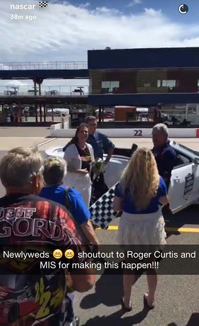 Happy Couple married at NASCAR race