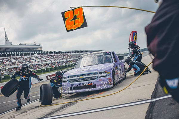 Purple NASCAR truck in the CWTS