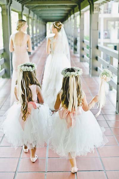 Flower Girls with Ribbon and Baby's Breath