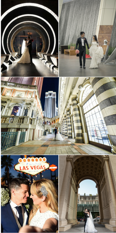 Amazing Las Vegas Strip Wedding Photos by Chapel of the Flowers