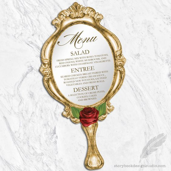 Beauty and the Beast Menus | Fairytale Wedding I Beauty and the Beast Wedding Ideas