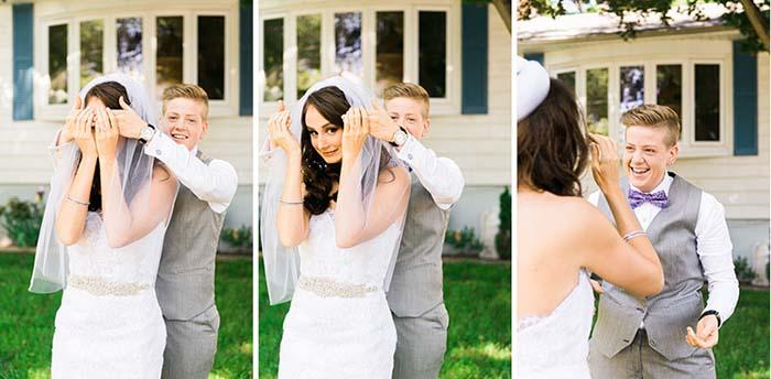 First Look at Lesbian Wedding | Same-Sex Wedding in Las Vegas | LGBTQ Wedding Ideas