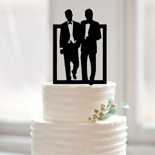 His and His Groom Cake Topper | Same-Sex Wedding in Las Vegas | LGBTQ Wedding Ideas