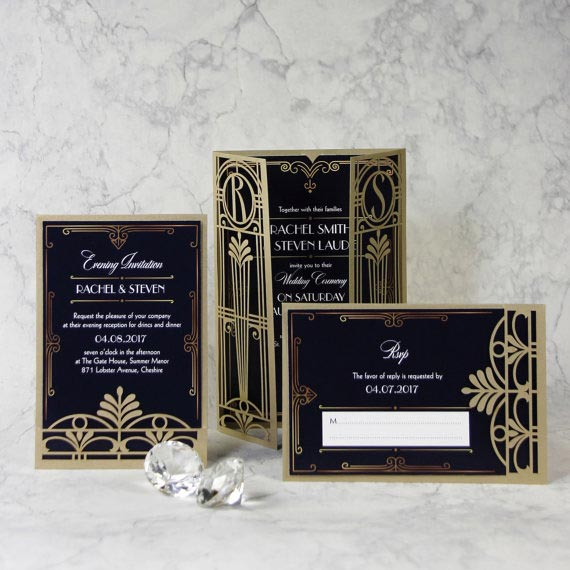 Great Gatsby Wedding Ideas | 1920's inspired Wedding Invitation with Laser Cut