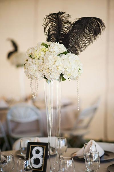 Great Gatsby Wedding Ideas | Feather Centerpiece for 1920's Themed Wedding