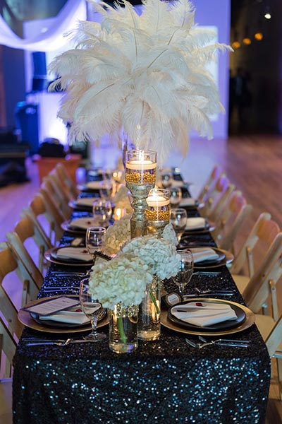 Great Gatsby Wedding Ideas | Sequins Linens for 1920's Themed Wedding