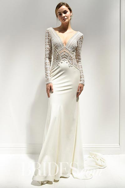 Great Gatsby Wedding Ideas | Alon Livne Long-Sleeve Wedding Dress with Art Deco Lace