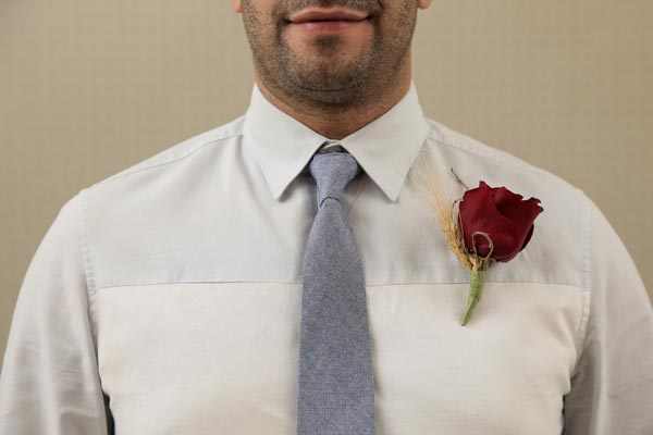 Wedding Flower Ideas | Boutonniere Ideas | Rose with Wheat Boutonniere